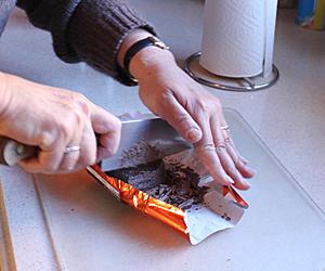Chop the chocolate block into chunks.