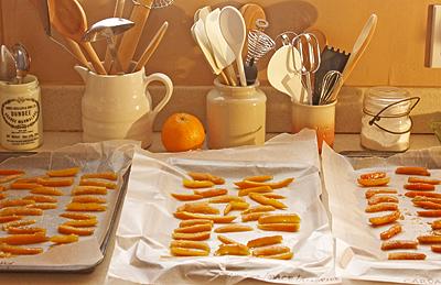 drying orange rinds