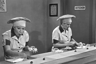 Lucy and Ethel on the candy line