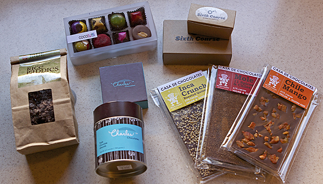 My take-home package from the 2013 Chocolate Salon: Jade's Rice Paddies, CocoTutti's tea-strong truffle collection, Sixth Course's boozy truffles, Casa de Chocolates' Mexican-themed bars, and Charles Chocolates' almonds and pavés.
