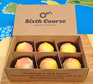 Sixth Course takes advantage of the liquid caramel in their Passion Fruit Habeneros chocolates to fill your mouth with heat.