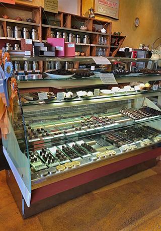 Sonoma Chocolatiers' display case