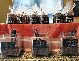 samples of cacao percentages